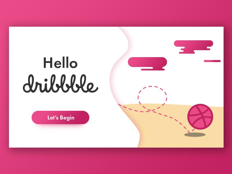 Hello dribbble clean flat simple ux design illustration ui debut first shot