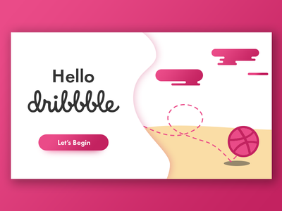 Hello dribbble clean flat simple ux design illustration ui debut first shot