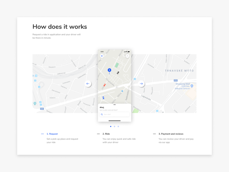 How does it work - Taxi app taxi website web minimal product page map landing page ux clean ui