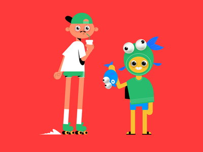 Keep up eyes costume daddy dad holidays family insane children kids skater character design panic studio character 3d 2d illustration