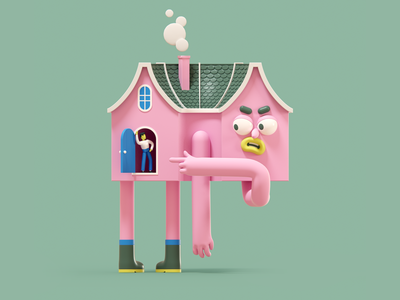Don't be covidiot smoke chimney attitude angry door boots character design c4d panic studio house stay home character 3d illustration