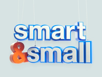 """Indeed """"Smart & Small"""" title design floating minimal c3d panic studio name words wire puppet typography lettering title design title miniature"""