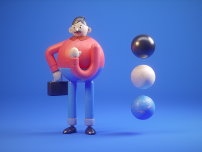 Style exploration puppet business outfit office suitcase boss male c4d materials wood character 3d style exploration panic studio