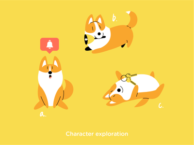 Character exploration best friend bell keys uproad panic studio 2d illustration character exploration mascot animal character animals pets corgi dog doggy
