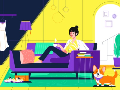 Snapio || Want. Tap. Get. coffee home modern interior character design living room corgi panic studio payment system finance online shopping startup e-commerce saas explainer contextual shopping check-out