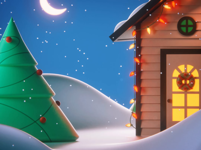 Safeword: Snowflake snow lights christmas tree tree house moon winter panic studio snowflake character 3d c4d snowflake illustration 3d characters greeting christmas xmas motiongrapher