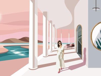 Summer vibes panic studio gold resort hotel hygiene cosmetics beauty female woman illusion warm hot evening summer hair face character illustration
