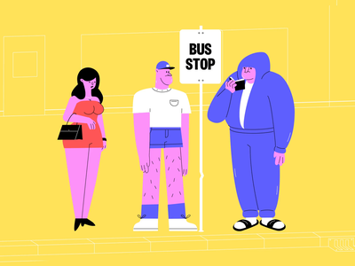 The world we live in 🤪🍆 do not panic phone 5g fun danger bus stop conspiracy adventure direction character design illustrations animation panic studio