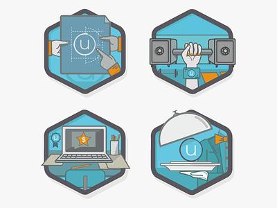 Ubiquity Product Badges design flat illustration product icon badge