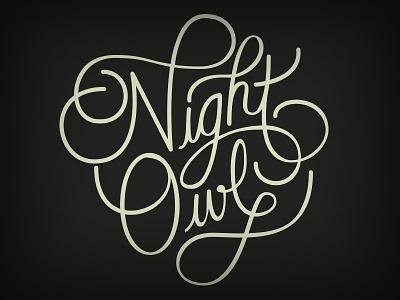 Night Owl logo script lettering typography illustrator design custom logotype logo