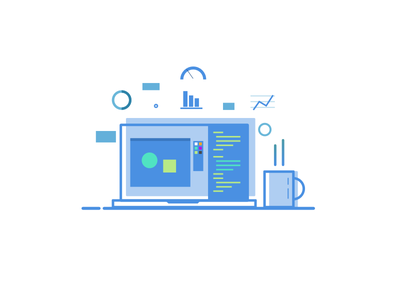 Floating UI sketch flat icon design illustration