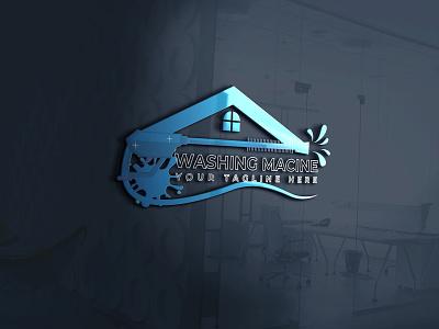 There are a Modern Washing machine and real estate logo design branding illustrator typography logo illustration design