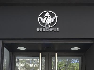 There are modern GREENPEE tree logo branding latter icon illustrator typography logo illustration design