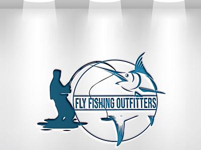 There are a modern minimalist Fishing logo branding latter icon illustrator typography logo illustration design