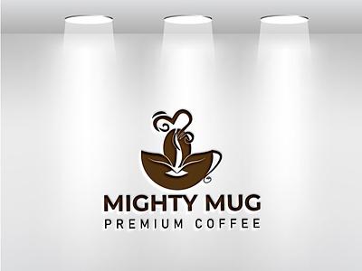 There are a mighty mug coffee logo design shoppe logo graphic design unique logo logo design business logo mug logo coffee logo ui latter icon illustrator typography logo illustration design