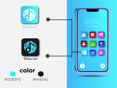 There are a Delaxsy music apps brand music music logo apps icon graphic design apps branding ui latter icon illustrator typography logo illustration design