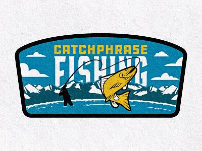 Catchphrase Fishing Patch fishing logo fishing rod nature mountain colorado patch design patch trout fish fisherman fly fishing fishing