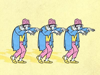 Zombie Mojo Jojo stickers mashup brains texture monkey cartoon network scooby doo power puff girls mojo jojo halloween