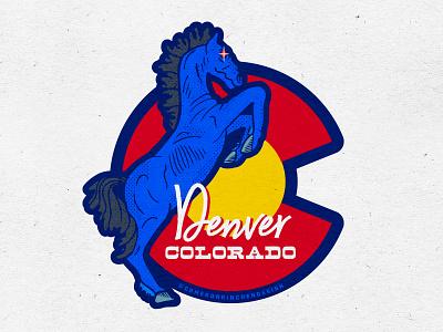 Blucifer Denver Colorado Sticker Design sticker evil horse state yellow red blues 5280 mustange blue blucifer colorado