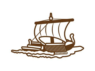Oh Ship! sail history greek naval sea brown illustration ship boat