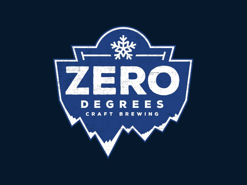 Zero Degrees Craft Brewing icy winter cold freezing ice snow badge logo frozen craft beer beer brewery