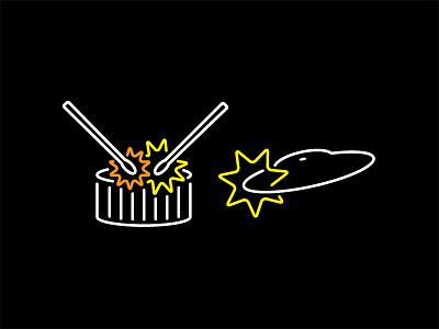 Ba Dum Tss light logo jokes band lines puns music cymbals drum instruments icons neon