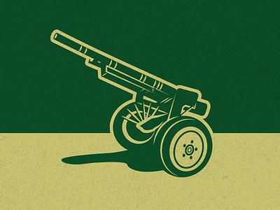 Comatose Cannon Illustration sports rotc rams colorado state university tradition history gold green vector art cannon military csu