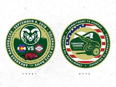 2018 Military Appreciation Game Challenge Coin america cannon vector coin csu challenge coin military colorado rams colorado state university sports illustration