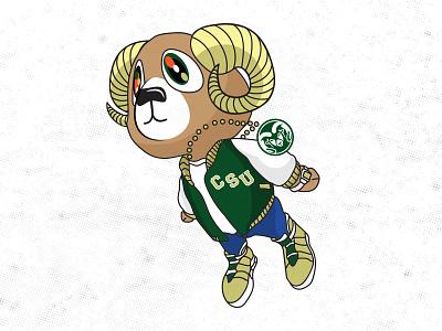 "Ram Ruckus ""Graduation"" Ram Illustration sports cartoon student section hiphop college parody graduation kanyewest ram colorado state university csu illustration"