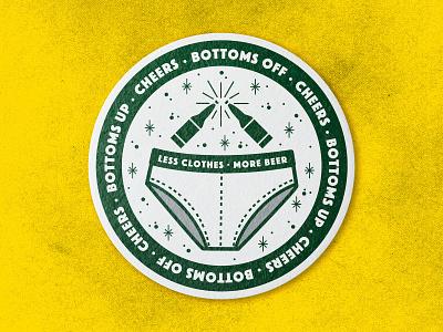 Bottoms Up whitey tighties illustration green bottom toast cheers undies underwear drinking beer bottoms up coaster