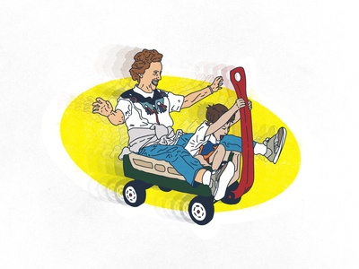 Fun with Grandma drawing family love wagon rip grandma childhood 2d motion cartoon illustration