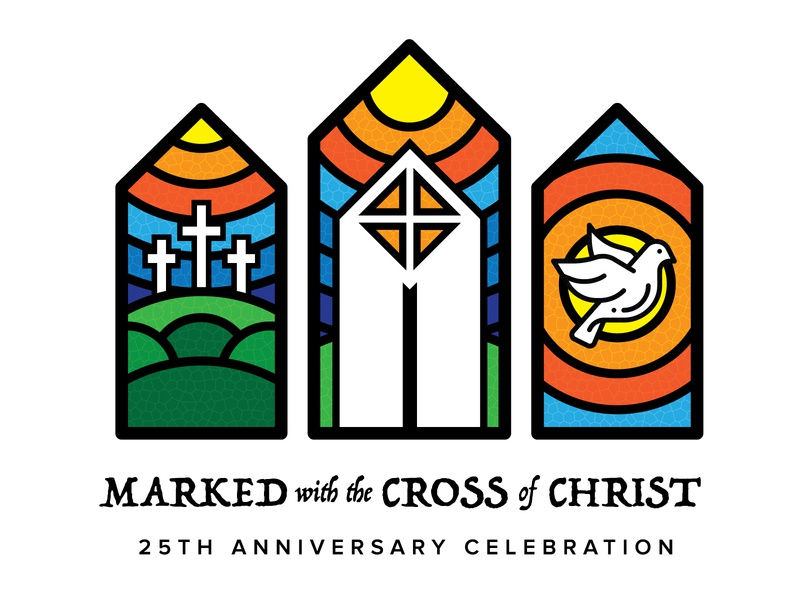 Marked with the Cross of Christ logo anniversary minimalism windows stained glass dove holy jesus christ cross christian religion church