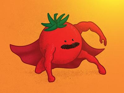 Super Tomato Vinny Man superman cartoon texture mustache veggies vegetable super hero superhero tomato stickermule playoff