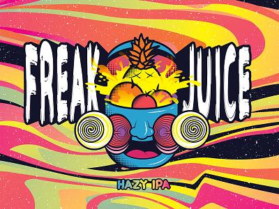 Freak Juice - Hazy IPA fruit trippy beer art beer can ipa hazy juice freak rio bravo brewery new mexico beer label brewery beer