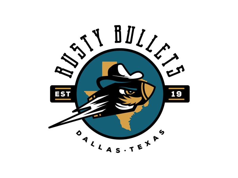 Rusty Bullets  - Primary Logo logo illustration mascot beer league dallas sports branding sports design sports logo mustache cowboy hat cowboy western texas bullet hockey logo