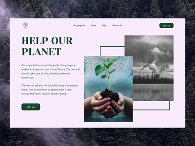 Help Our Planet enviroment protection trees ecology pollution environment the earth design web ui graphic design