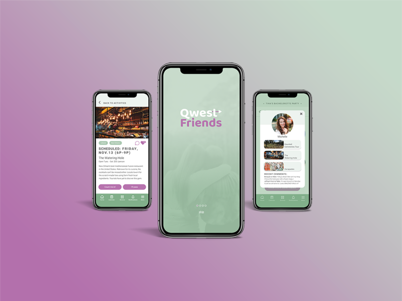 QwestFriends Mobile App mockup uidesign uxdesign travel app mobile app