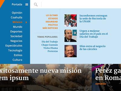 Navigation news newspaper navigation menu spanish mexico