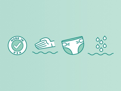 Icons made in usa soft texture diaper absorbence icons illustrator