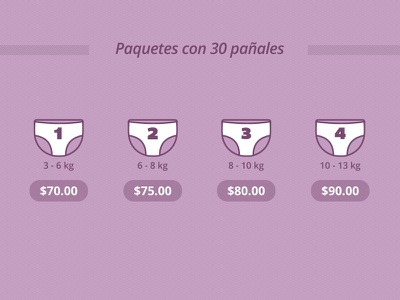 Paquetes con 30 pañales diapers icons price