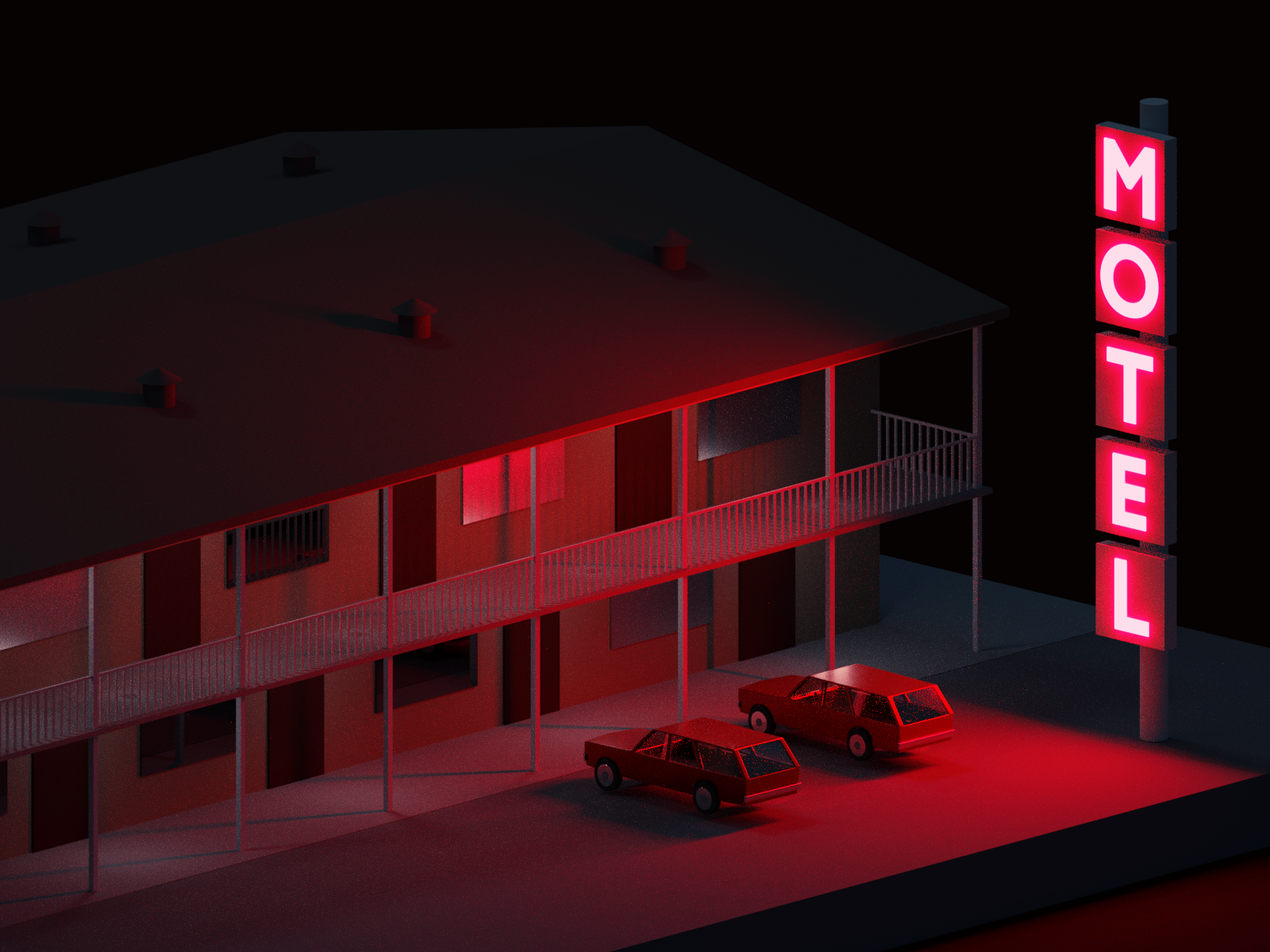 Motel with cars 1000