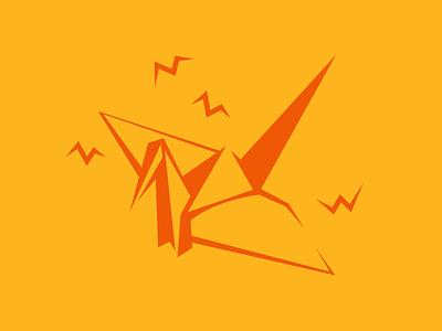 The Folded Crane bird paper origami crane logo icon illustration