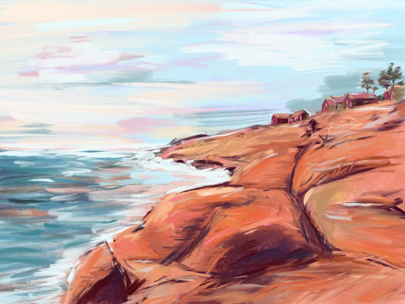 Depoe Bay impressionist digital painting apple pencil ipad pro ocean oregon shore beach coast procreate