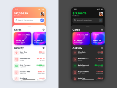 Credit Card App Exploration mobile ios light dark transfer bank credit card