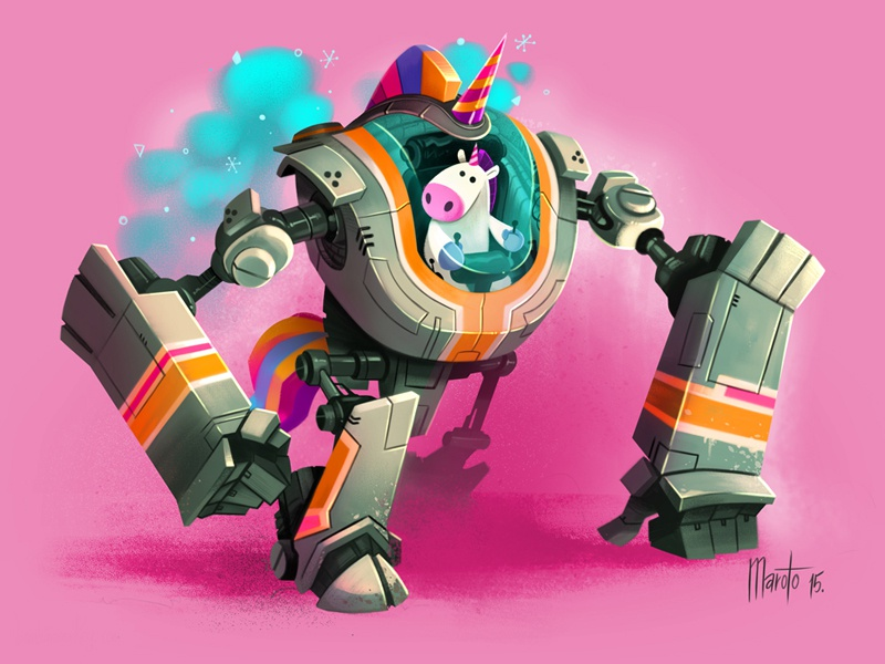 Robounicorn character design illustration unicorn robot