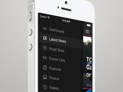 Side Menu ios7 mobile menu news