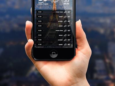 iOS7 Weather App v.2 (Hourly) app iphone ios7 ui flat weather forecast