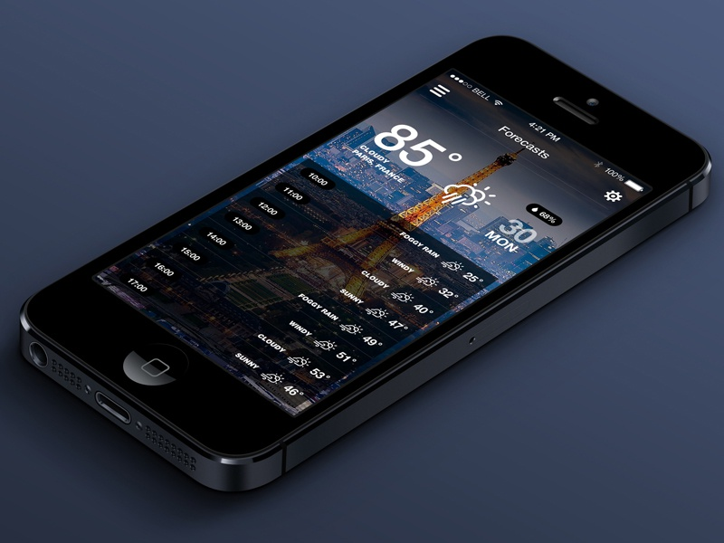 iOS7 Weather App v.2 (Hourly) app iphone ios7 ui flat weather forecast