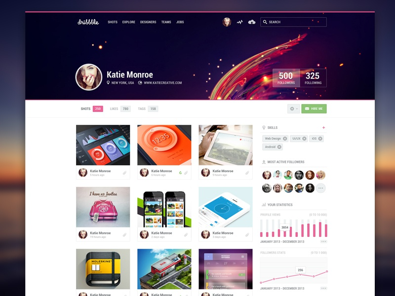 Dribbble Profile Redesign (RP inside) dribbble redesign profile stats graph web web design user header