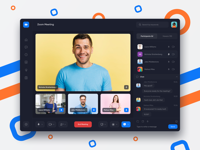Zoom Redesign Concept - Call Screen conference dark clean mobile web zoom app videochat course videocall meeting room meeting zoom